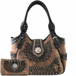 Justin West Berry Concho Western Floral Cut Stud Conceal Car