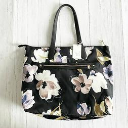A New Day Black Floral Print Zip Closure Tote Handbag