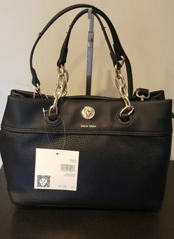 Anne Klein Chain Satchel Handbag Black