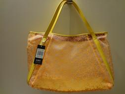 ESBag Clear with Orange Vine Print Nylon Handbag Tote New