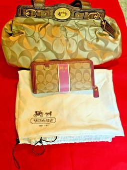 Coach F13906 Signature Brown Handbag  and Purse in one lot