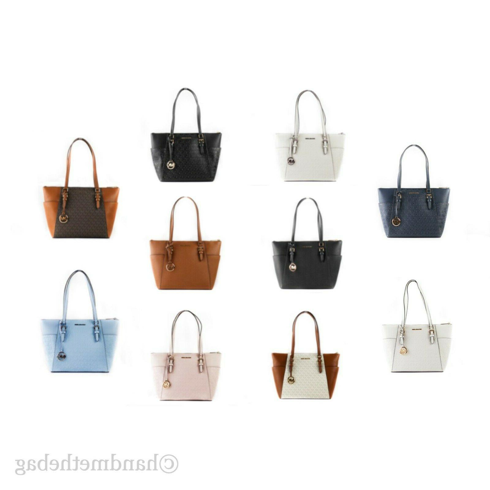 charlotte signature leather large top zip tote