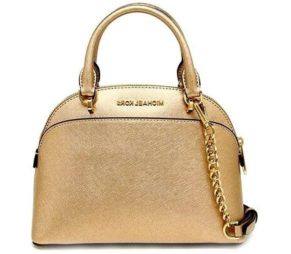 🦋MICHAEL KORS Emmy DOME SATCHEL top handle Leather BAG Pu