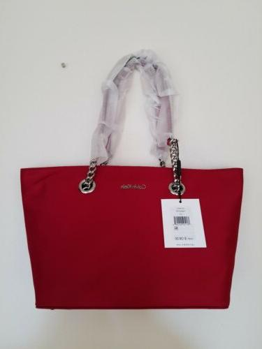nwt nylon chain strap shoulder tote red