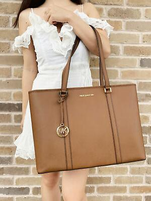 MICHAEL KORS SADY LARGE MULTIFUNCTIONAL TOTE BAG BROWN LEATH