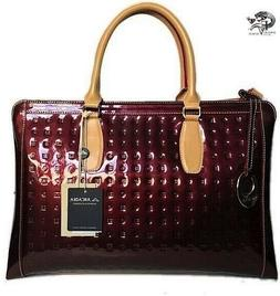 Arcadia Made in Italy Vinegar Maroon Color Large Patent Leat
