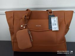new KENNETH COLE REACTION big RENEGADE TOTE brown cognac BAG