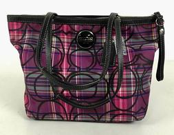 NWOT COACH Tartan Poppy Plaid Glitter Signature Canvas Satch