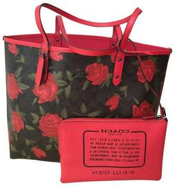 NWT Coach F25874 Reversible City Tote Signature Floral / Red