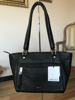 NWT Calvin Klein L-Angelina Leather Black Bag Two Handles W/