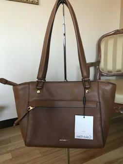 NWT Calvin Klein L-Angelina Leather Brown Bag Two Handles W/