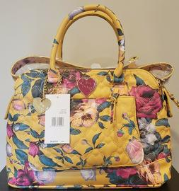 Betsey Johnson Quilted  Floral Mustard Satchel Handbag