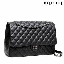 Jollque Quilted Women's Clutch Handbags Leather Travel Bag F