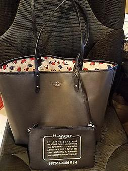 Coach Reversible Midnight/Tearose Floral City Tote Purse Han