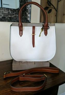 Fossil Ryder Satchel Off White/Taupe/Brown NWT neutral