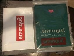 """Supreme 2019 """"f*ck all y'all"""" New In Bag Gold Bars Tee Green"""