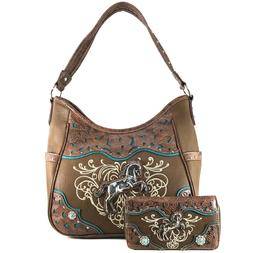 Justin West Wild Horse Embroidery Western Floral Concealed C