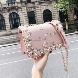 Women Fashion Floral Printed Mini Chain Bag Shoulder Bag Tot